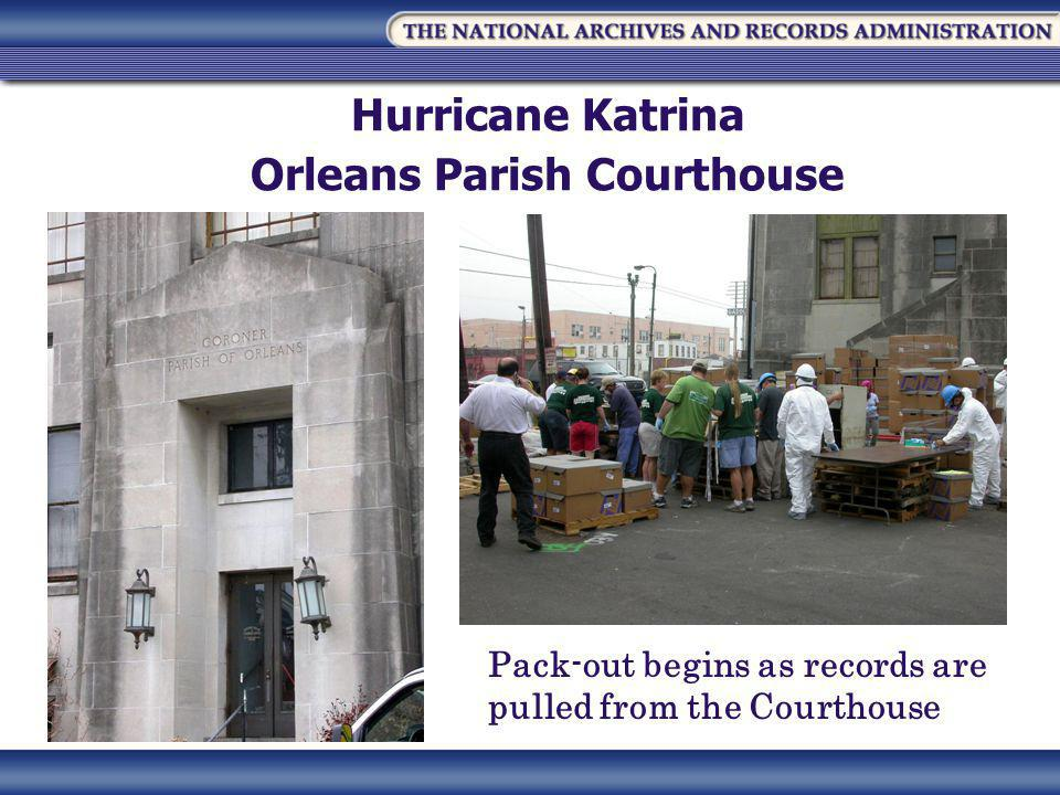 Hurricane Katrina Orleans Parish Courthouse Pack-out begins as records are pulled from the Courthouse
