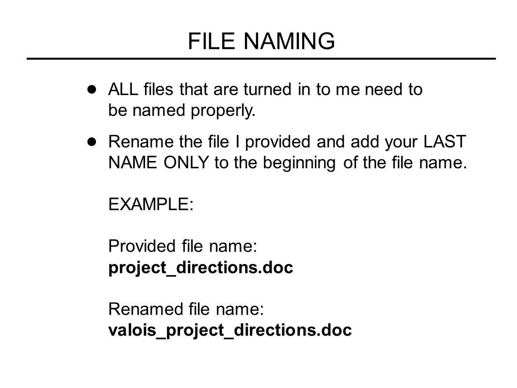 FILE NAMING ALL files that are turned in to me need to be named properly.