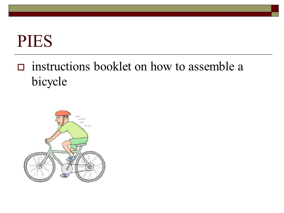 PIES  instructions booklet on how to assemble a bicycle