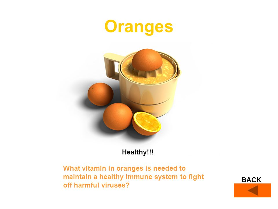 BACK Oranges What vitamin in oranges is needed to maintain a healthy immune system to fight off harmful viruses.