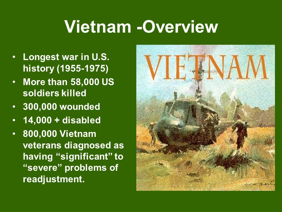 Overview In Vietnam – over 2 million killed (including civilians) In Vietnam – 4 million wounded and 10 million displaced from their homes.