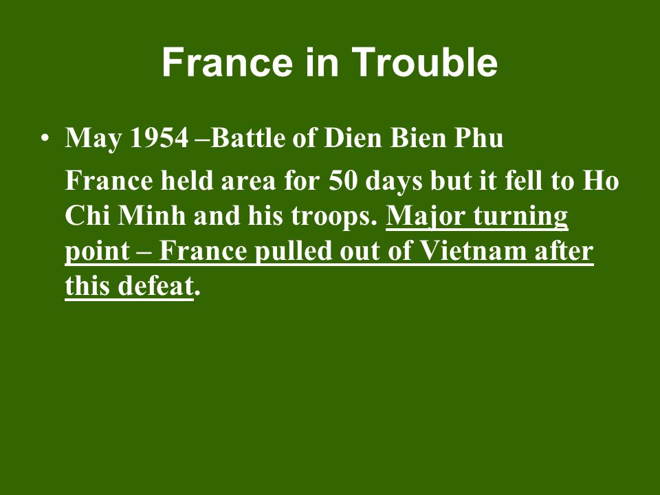 A Divided Vietnam July 1954 = Geneva Accords – Vietnam was divided near the 17 th parallel into two separate nations: - North Vietnam, Communist, led by Ho Chi Minh - South Vietnam, non- Communist, looking for leader