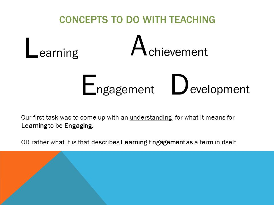 CONCEPTS TO DO WITH TEACHING L E A D earning chievement ngagement evelopment Our first task was to come up with an understanding for what it means for Learning to be Engaging.