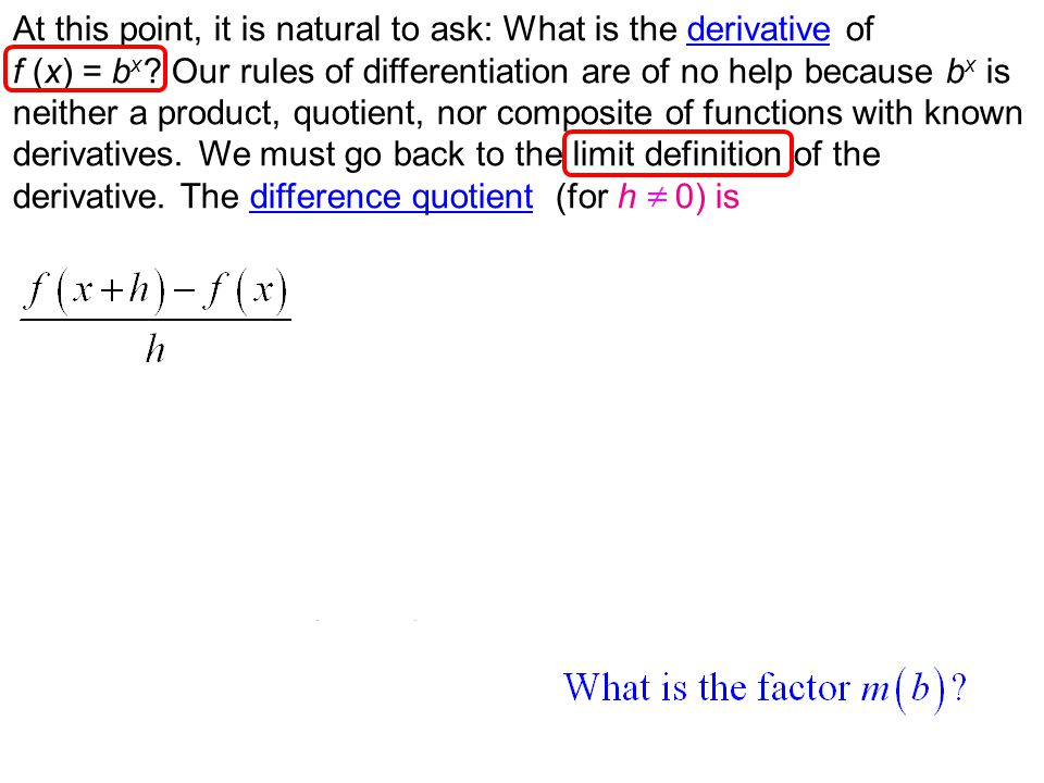 At this point, it is natural to ask: What is the derivative ofderivative f (x) = b x .