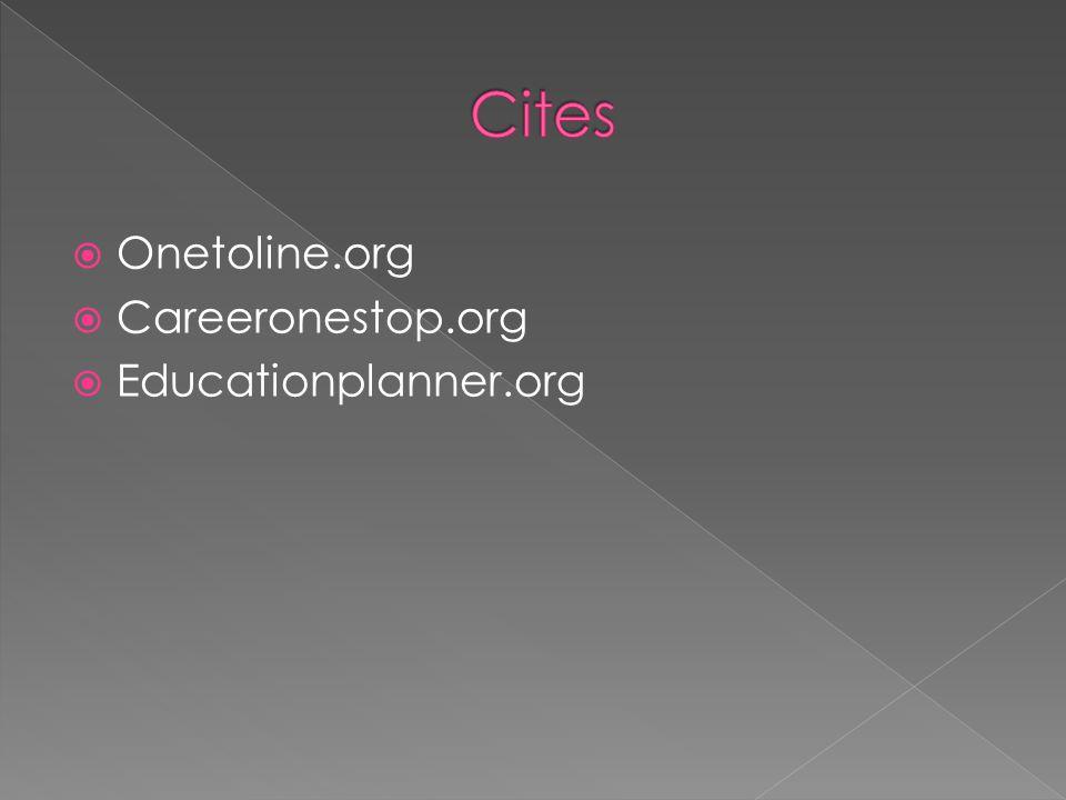  Onetoline.org  Careeronestop.org  Educationplanner.org