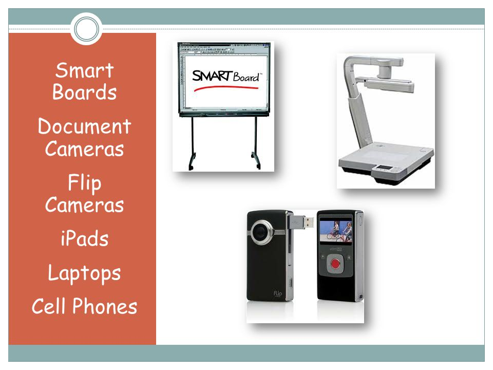 Smart Boards Document Cameras Flip Cameras iPads Laptops Cell Phones