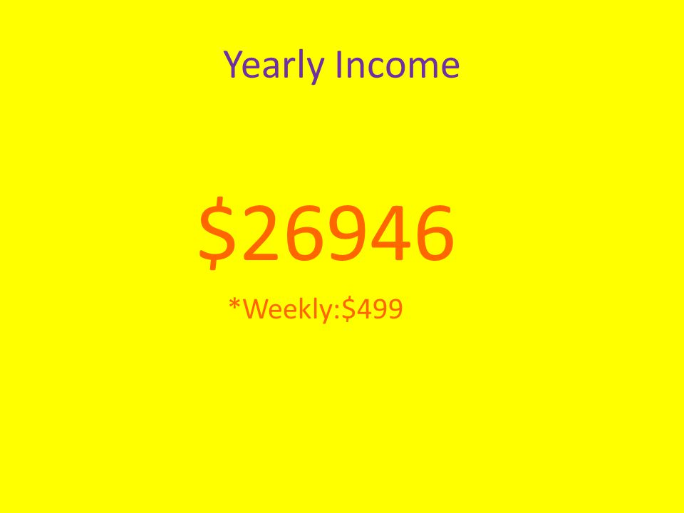 Yearly Income $26946 *Weekly:$499