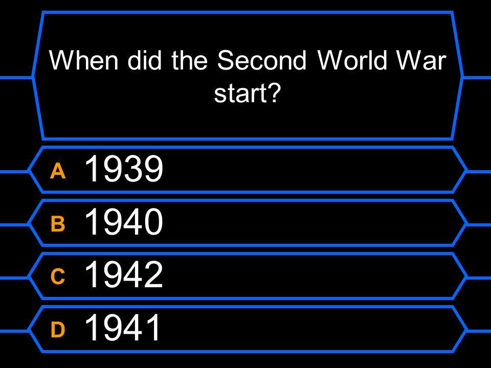 When did the Second World War start?