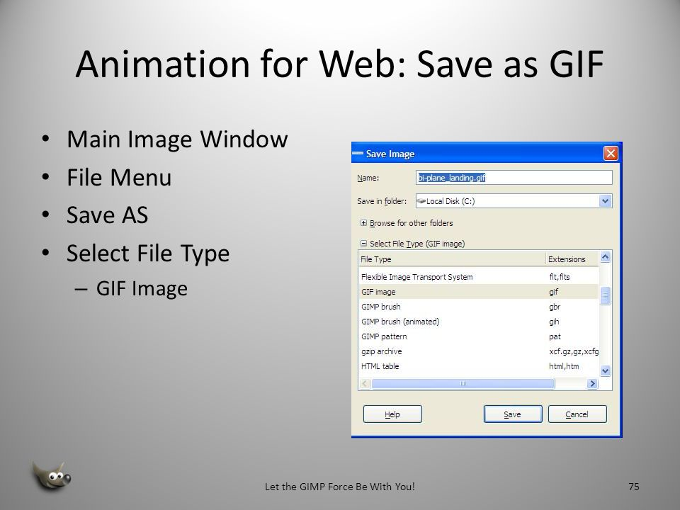 Fine Tuning Your GIF Animation with Layer Names Next we to copy the background layer and then merge the biplane layer by merging layer, using merge move down You can specify the time interval between frames by editing the frame names By double-clicking on the layer name in the Layers Dialog Box.
