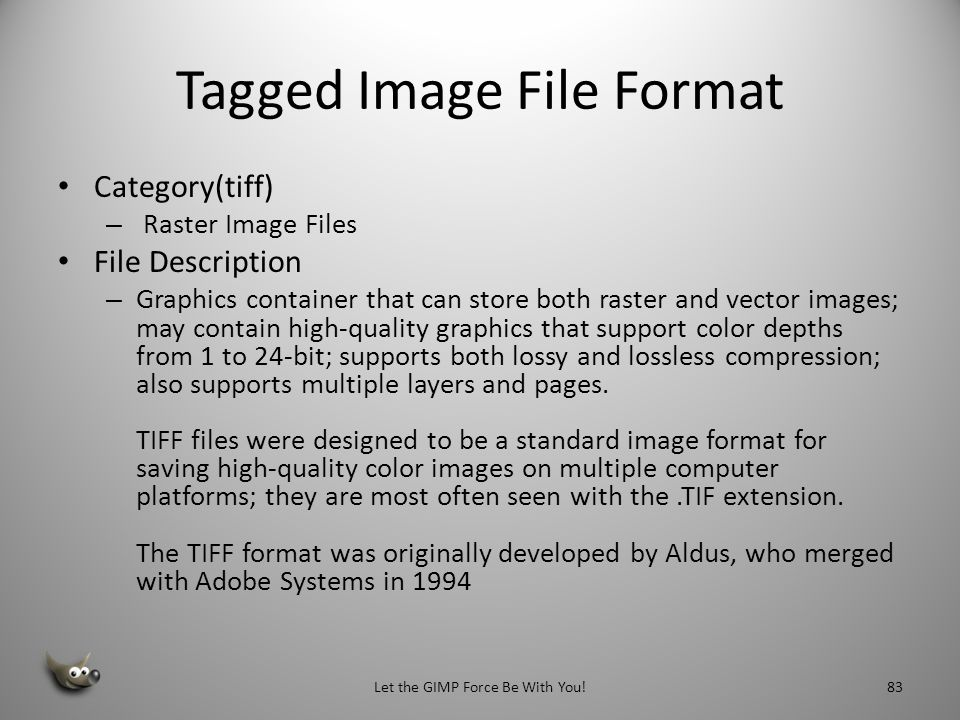 eXperimental Computing Facility Category (XCF) Raster Image Files File Description Image file created by the GNU Image Manipulation Program (GIMP), a freely distributed image editing program; saves layers, channels, paths, guides, and the current selection when saved.