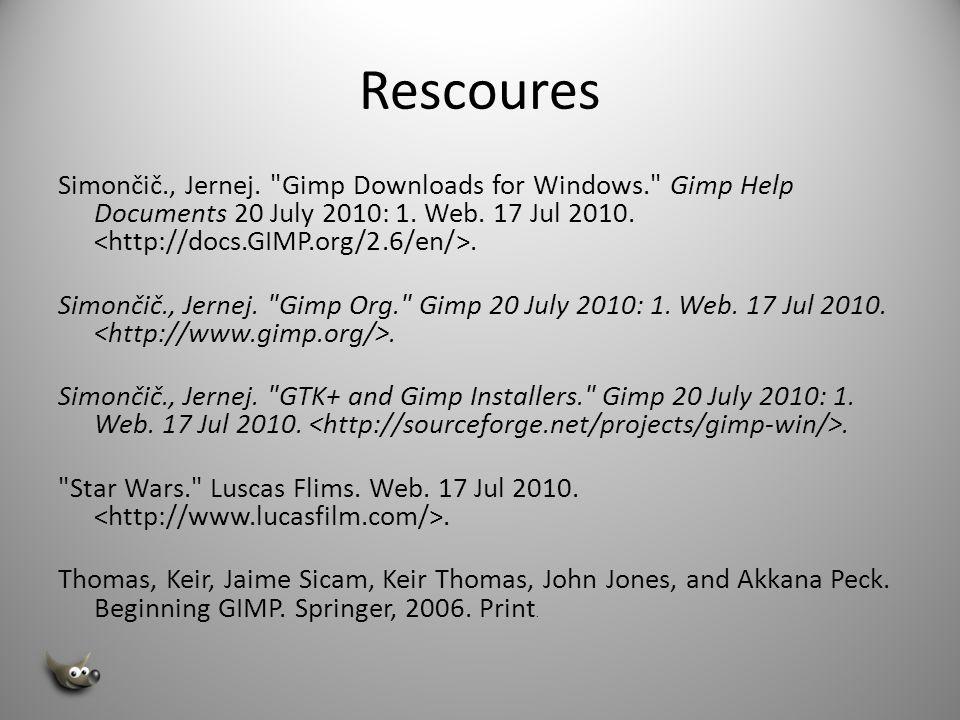 Resources Smith, Jana and Jost, Rooam.Beginning GIMP.