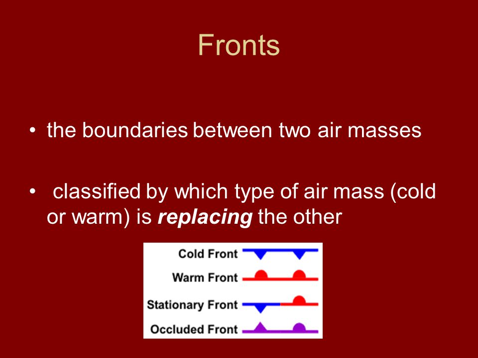 Types of Fronts a cold front separates the edge of a cold air mass displacing a warmer air mass a warm front is the edge of a warmer air mass replacing a colder air mass if the front is not moving (i.e.