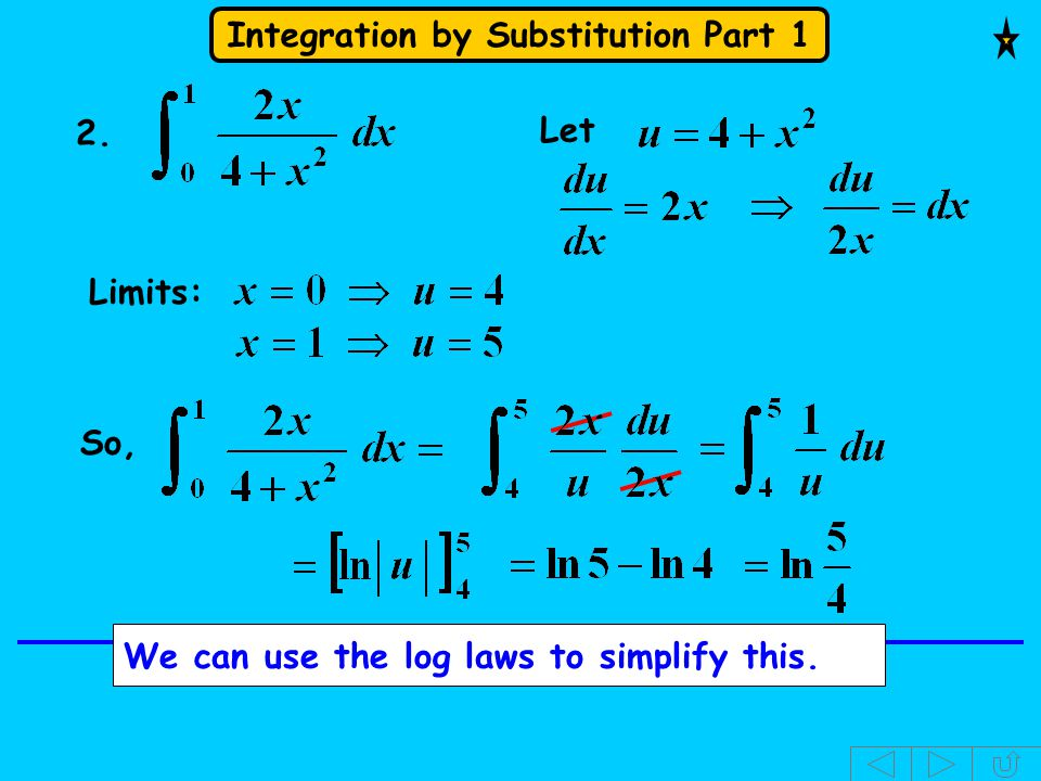Integration by Substitution Part 1 Let 2. Limits: We can use the log laws to simplify this. So,