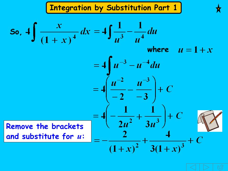 Integration by Substitution Part 1 So, where Remove the brackets and substitute for u :