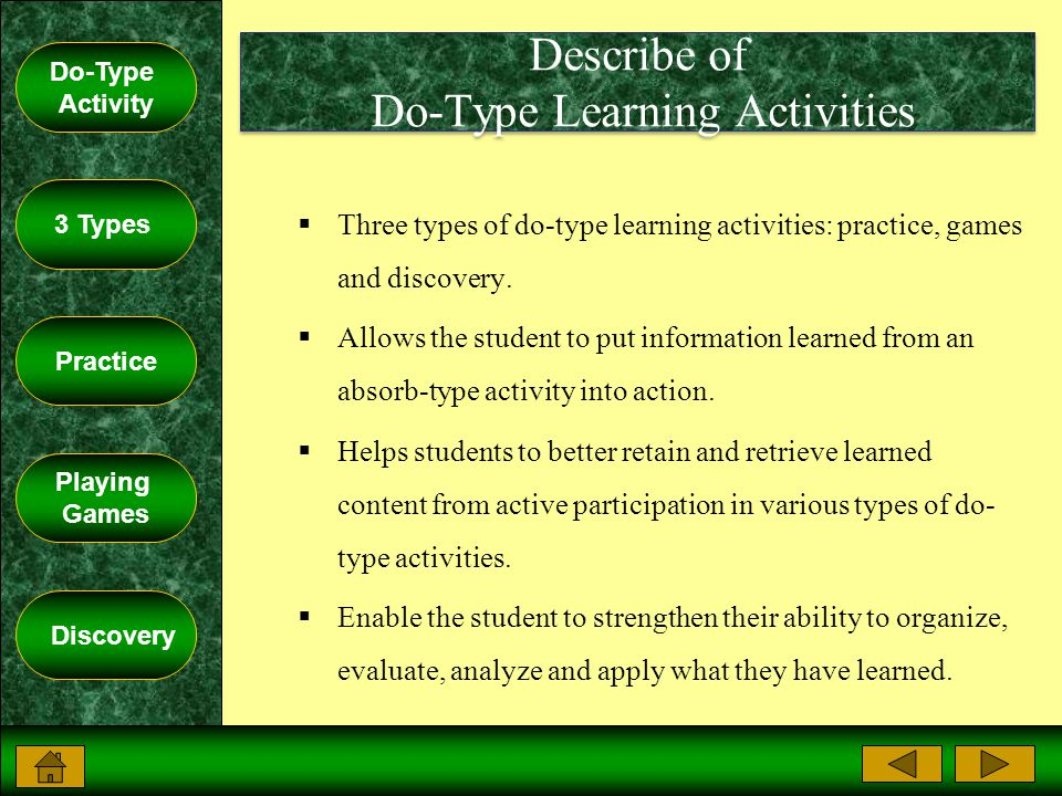 Do-Type Activity 3 Types Practice Playing Games Discovery Describe of Do-Type Learning Activities  Three types of do-type learning activities: practice, games and discovery.