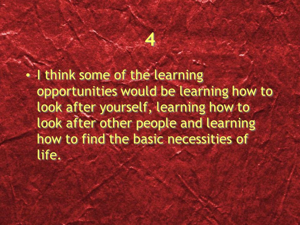 4 4 I think some of the learning opportunities would be learning how to look after yourself, learning how to look after other people and learning how to find the basic necessities of life.