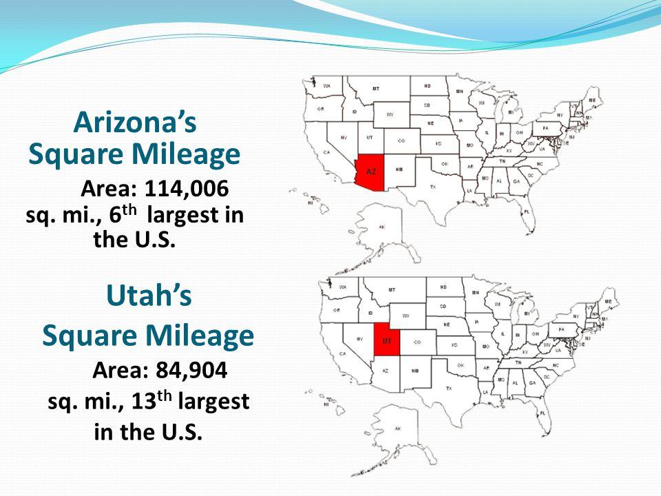 Utah's Square Mileage Area: 84,904 sq. mi., 13 th largest in the U.S.