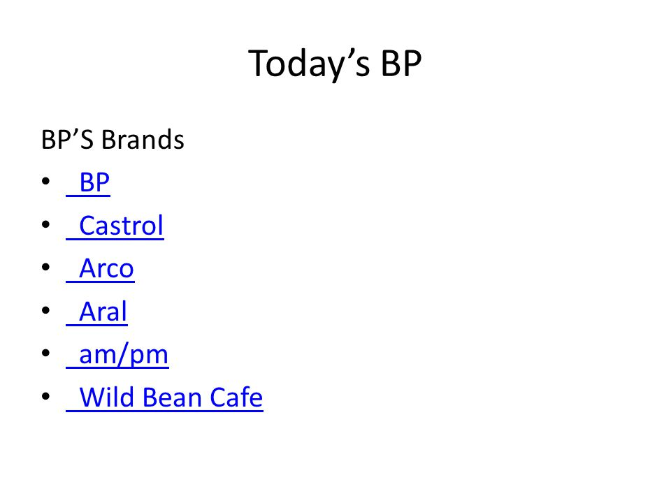 Today's BP BP'S Brands BP BP Castrol Arco Aral am/pm Wild Bean Cafe