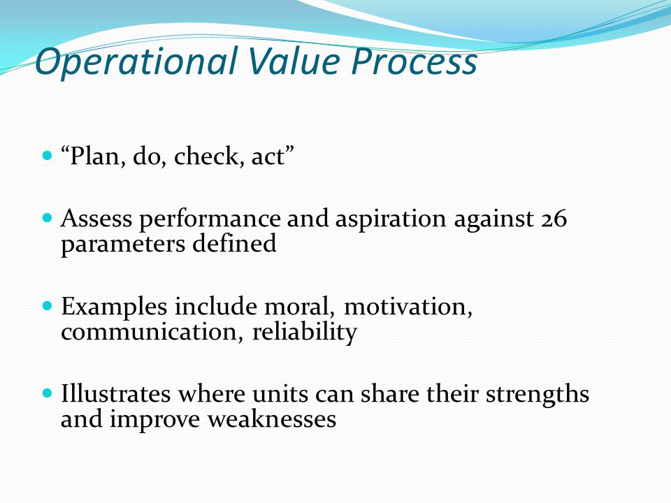 Operational Value Process Plan, do, check, act Assess performance and aspiration against 26 parameters defined Examples include moral, motivation, communication, reliability Illustrates where units can share their strengths and improve weaknesses