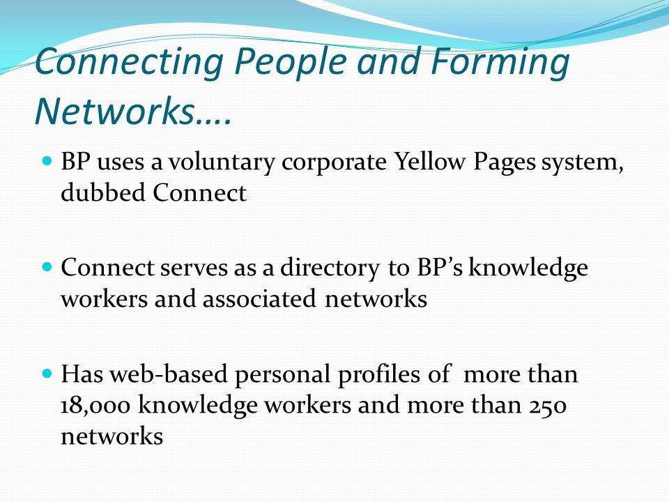 Connecting People and Forming Networks….