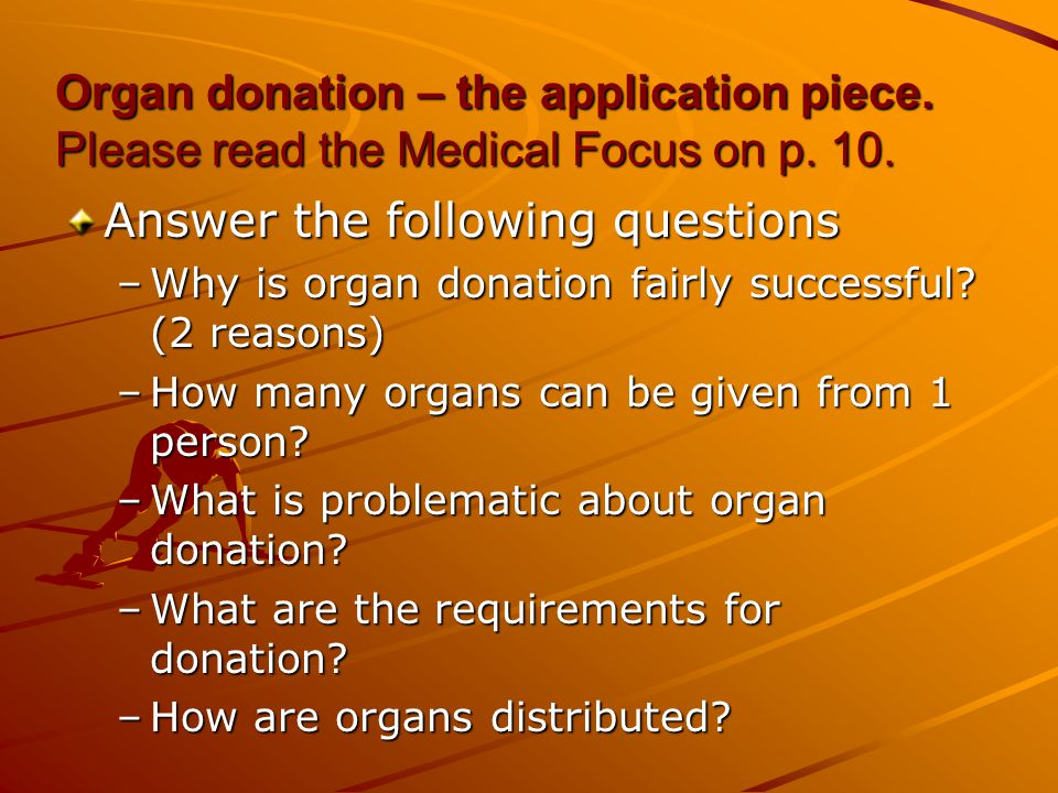 Organ donation – the application piece.Please read the Medical Focus on p.