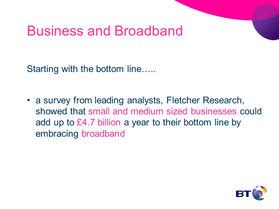 Business and Broadband Starting with the bottom line…..