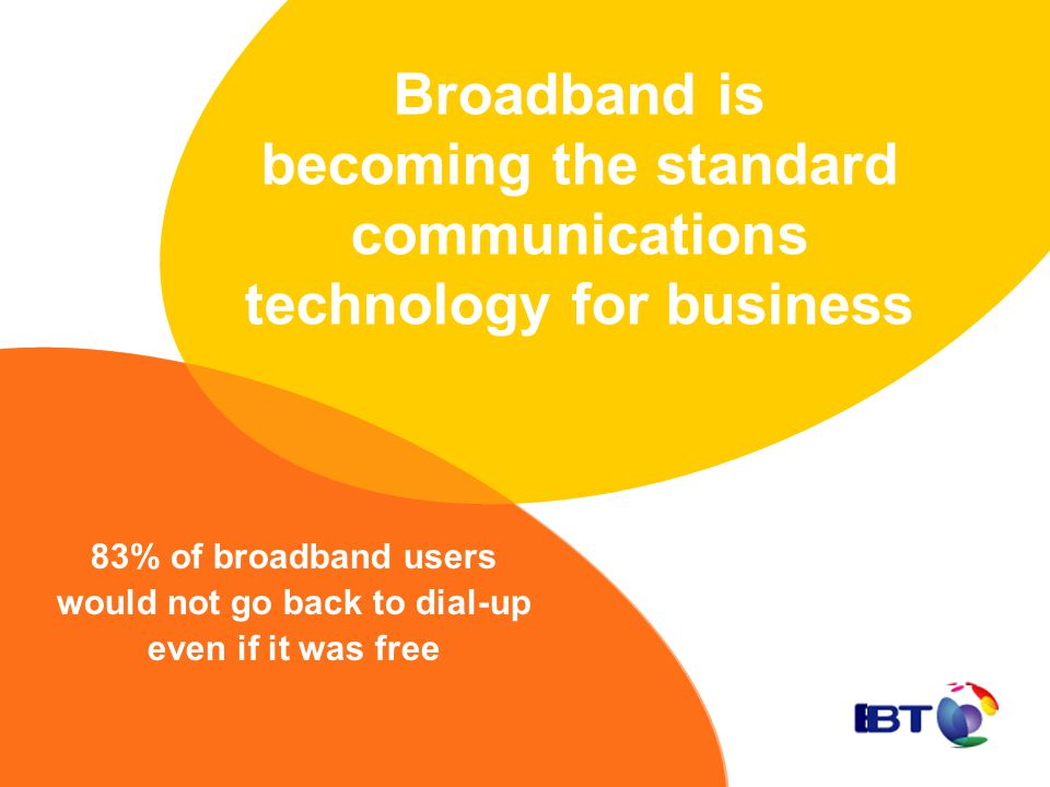 Broadband is becoming the standard communications technology for business 83% of broadband users would not go back to dial-up even if it was free