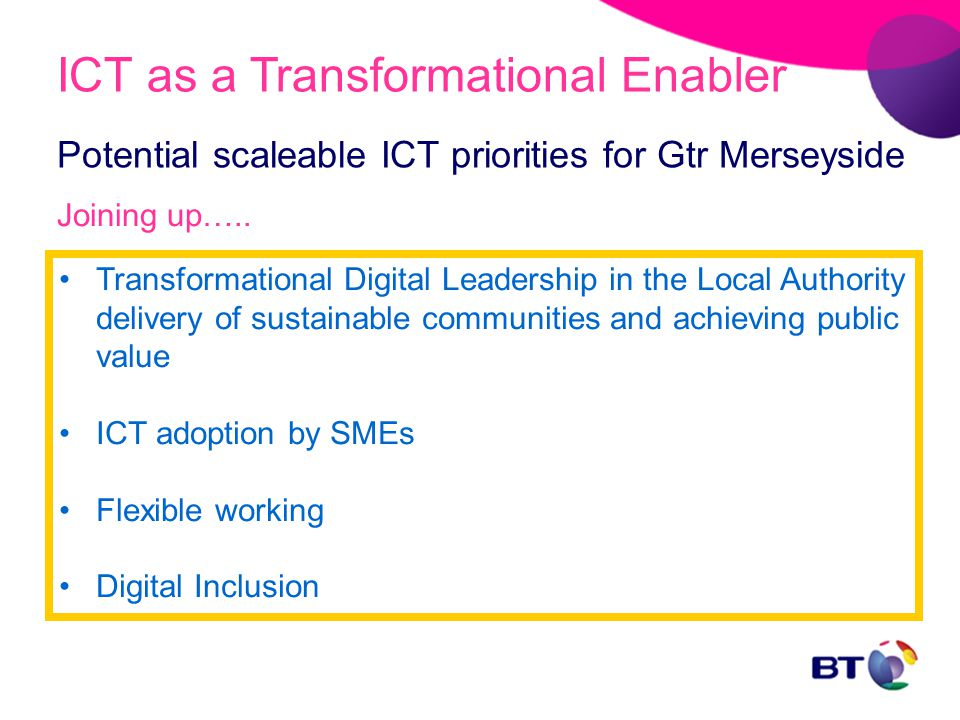 Potential scaleable ICT priorities for Gtr Merseyside Transformational Digital Leadership in the Local Authority delivery of sustainable communities and achieving public value ICT adoption by SMEs Flexible working Digital Inclusion ICT as a Transformational Enabler Joining up…..