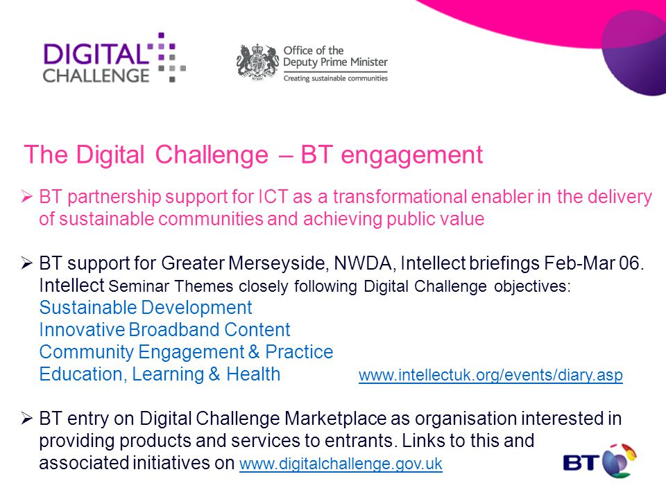  BT partnership support for ICT as a transformational enabler in the delivery of sustainable communities and achieving public value  BT support for Greater Merseyside, NWDA, Intellect briefings Feb-Mar 06.