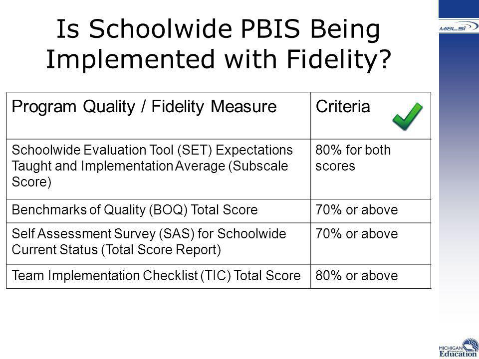 Program Quality / Fidelity MeasureCriteria Schoolwide Evaluation Tool (SET) Expectations Taught and Implementation Average (Subscale Score) 80% for bo