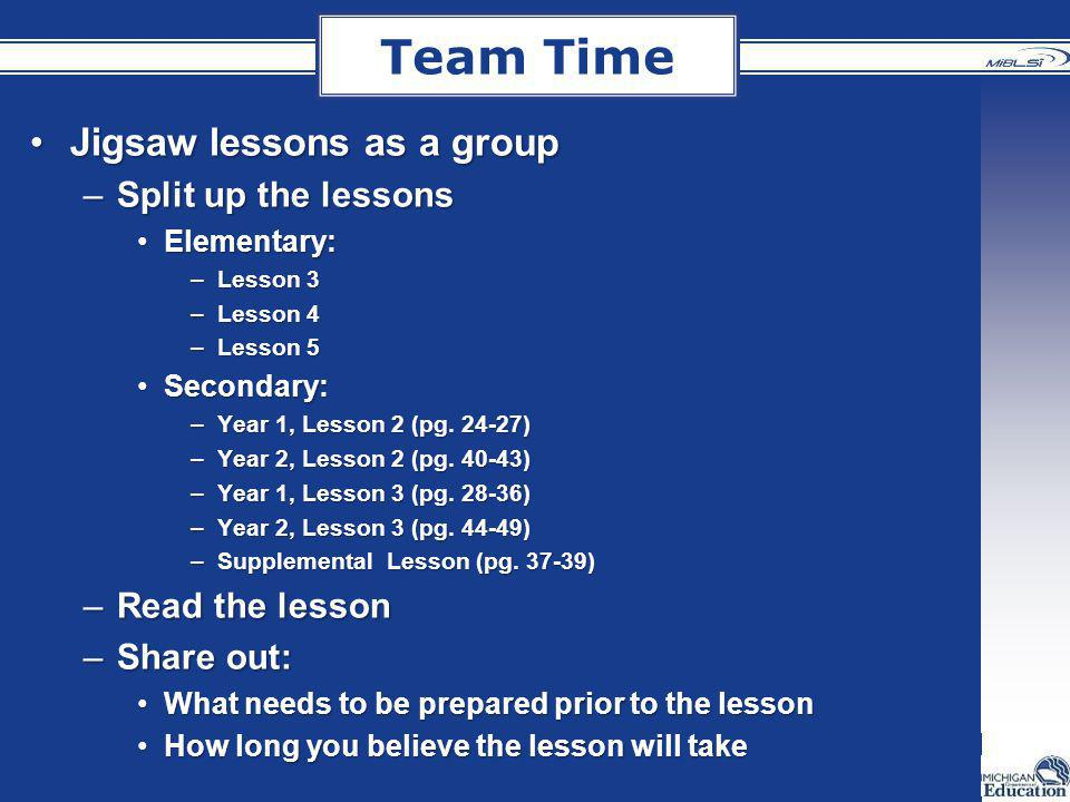 Team Time Jigsaw lessons as a groupJigsaw lessons as a group –Split up the lessons Elementary:Elementary: –Lesson 3 –Lesson 4 –Lesson 5 Secondary:Seco
