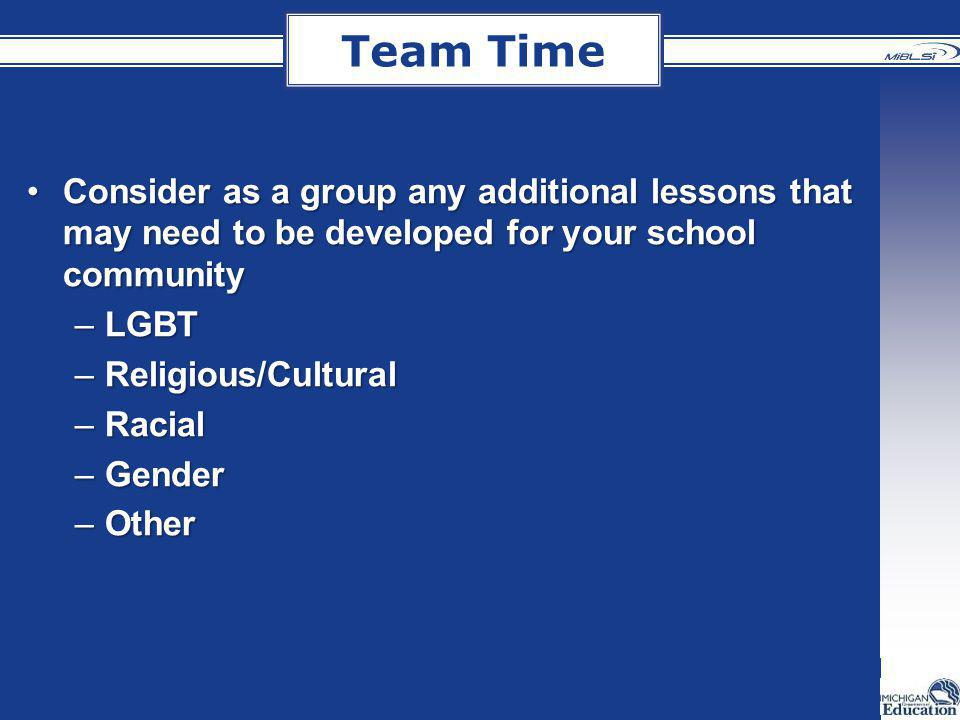 Team Time Consider as a group any additional lessons that may need to be developed for your school communityConsider as a group any additional lessons