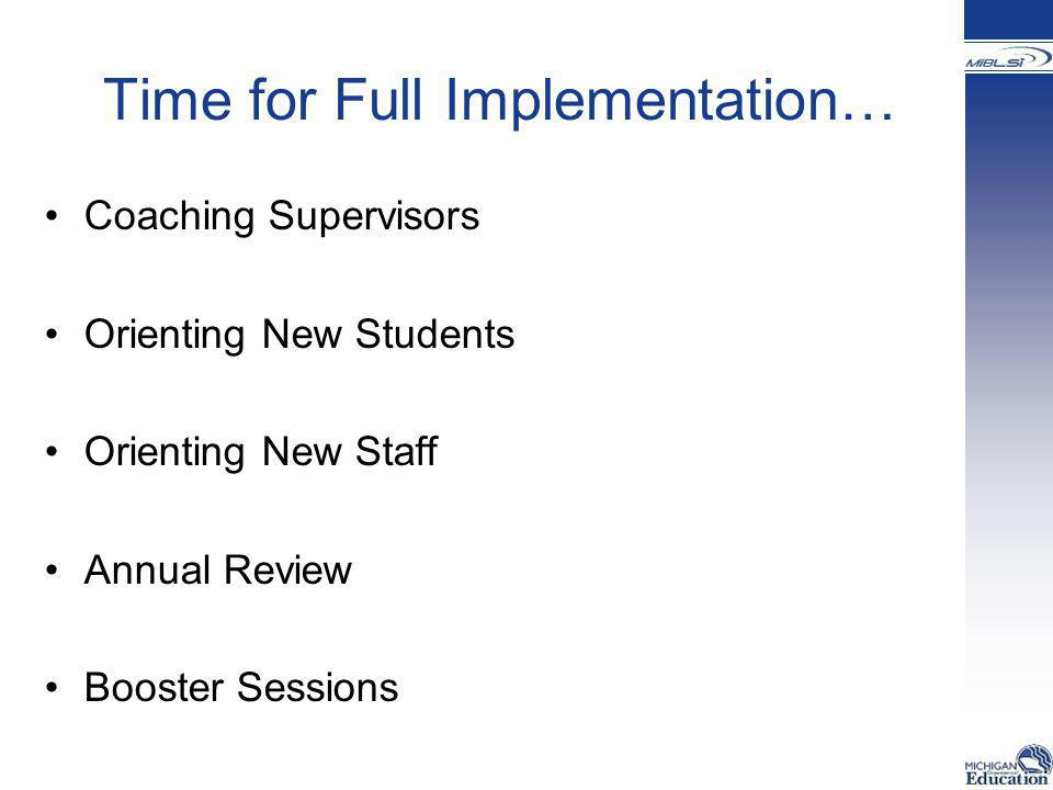 Time for Full Implementation… Coaching Supervisors Orienting New Students Orienting New Staff Annual Review Booster Sessions