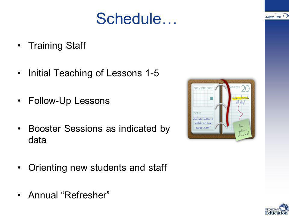 Schedule… Training Staff Initial Teaching of Lessons 1-5 Follow-Up Lessons Booster Sessions as indicated by data Orienting new students and staff Annu