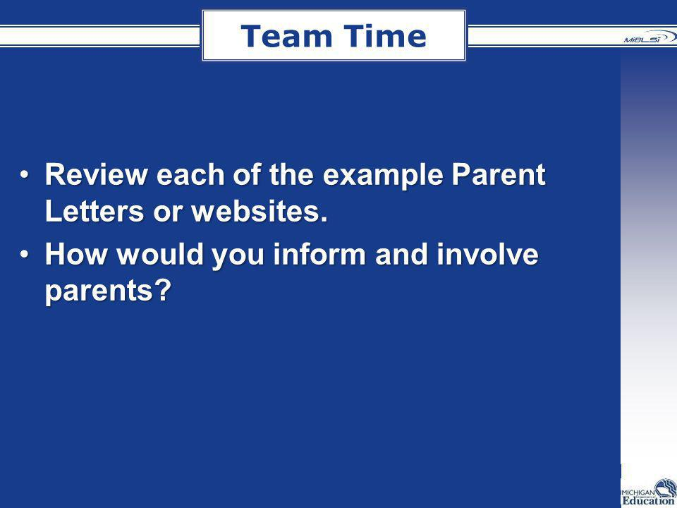 Team Time Review each of the example Parent Letters or websites.Review each of the example Parent Letters or websites. How would you inform and involv