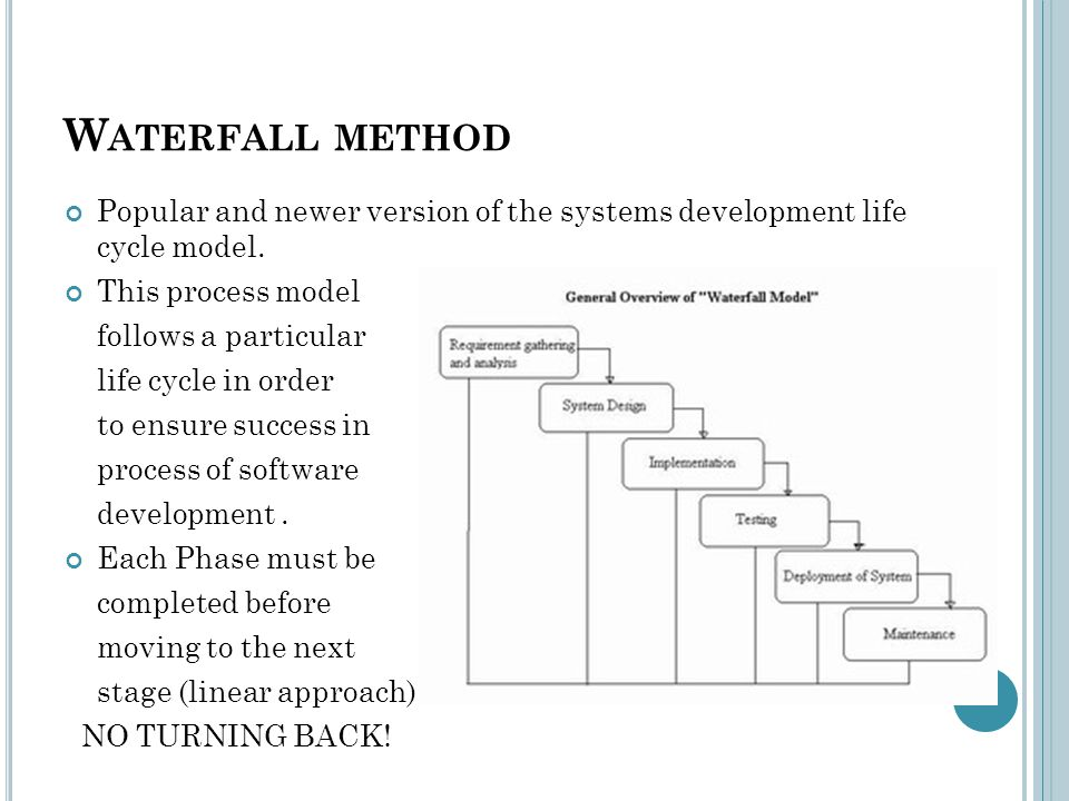 W ATERFALL METHOD Popular and newer version of the systems development life cycle model.