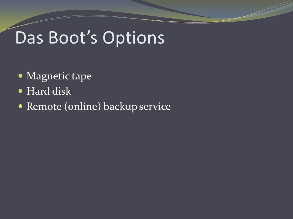 Das Boot's Options Magnetic tape Hard disk Remote (online) backup service