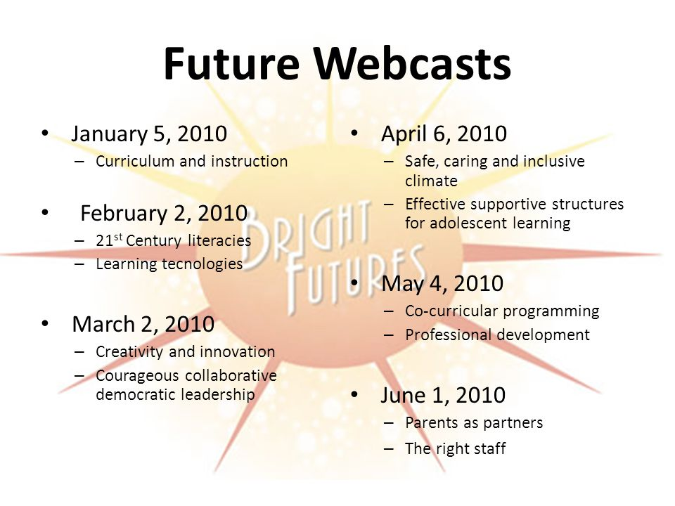 Future Webcasts January 5, 2010 – Curriculum and instruction February 2, 2010 – 21 st Century literacies – Learning tecnologies March 2, 2010 – Creativity and innovation – Courageous collaborative democratic leadership April 6, 2010 – Safe, caring and inclusive climate – Effective supportive structures for adolescent learning May 4, 2010 – Co-curricular programming – Professional development June 1, 2010 – Parents as partners – The right staff