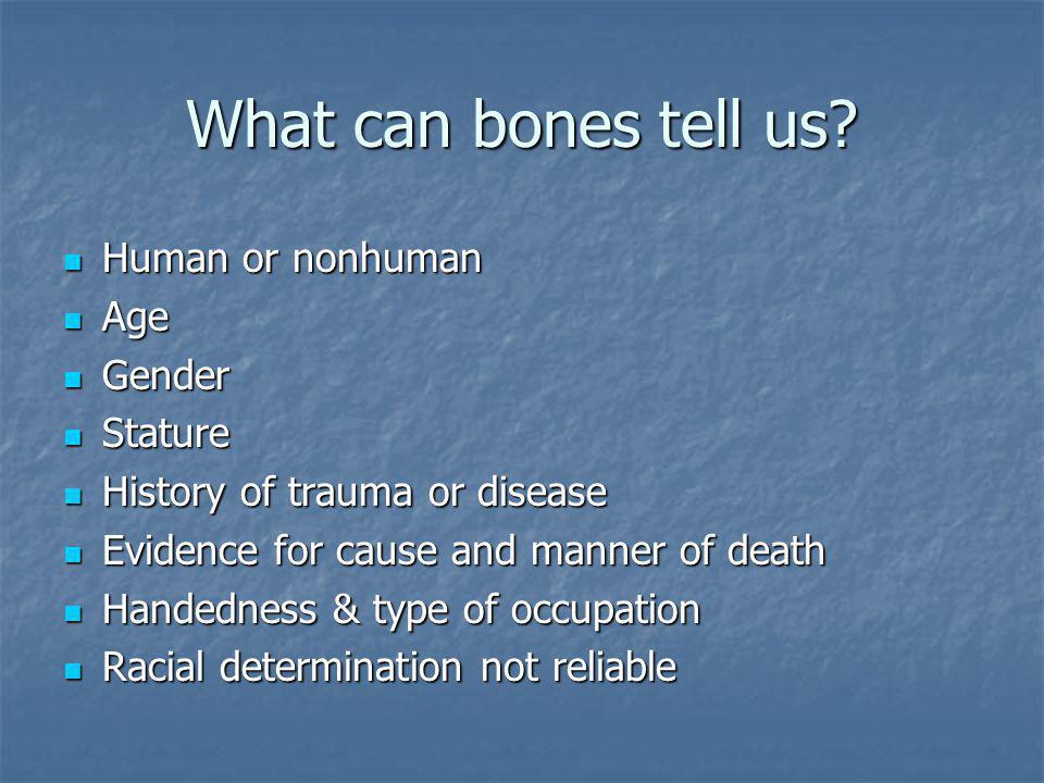 What can bones tell us? Human or nonhuman Human or nonhuman Age Age Gender Gender Stature Stature History of trauma or disease History of trauma or di