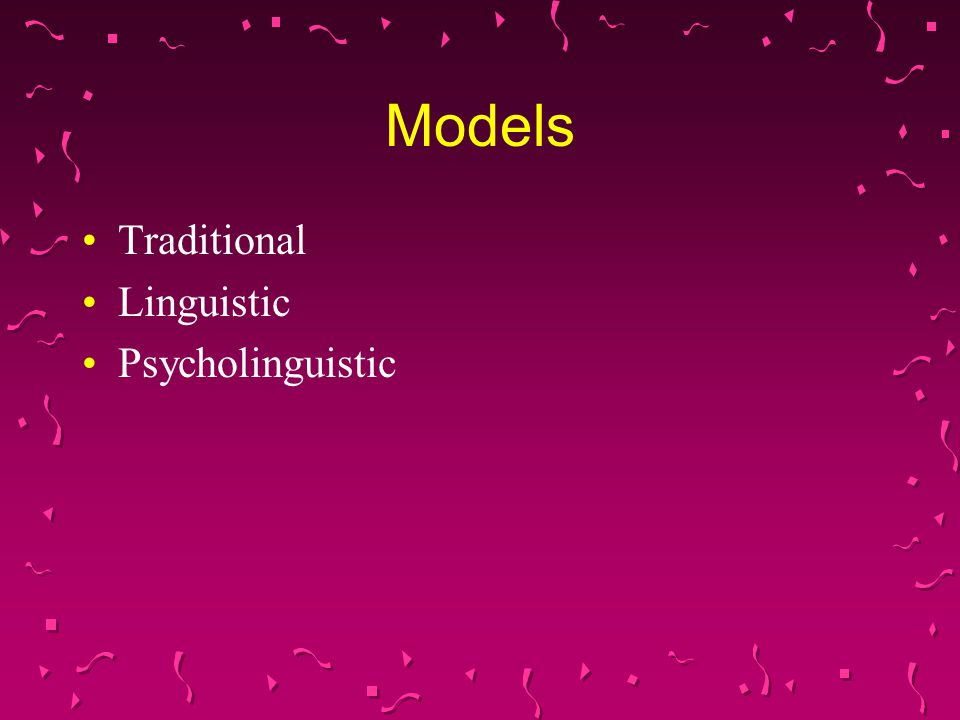 Behaviorist Model - Traditional Role of contingent reinforcement (environment) in speech acquisition Child's babbling shaped through operant principles – Skinner Child associate vocalizations of caretaker with Primary reinforcement such as food and comfort Secondary reinforcement is adult's vocalization Caretaker continues to reinforce There is self-reinforcement