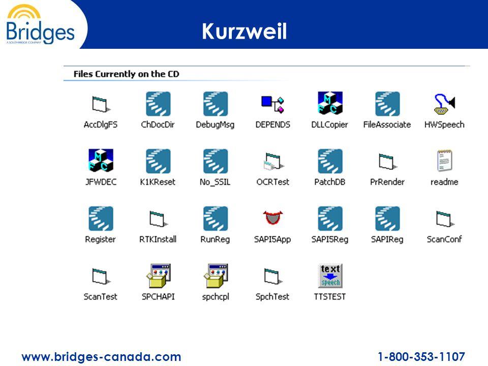 www.bridges-canada.com 1-800-353-1107 Kurzweil