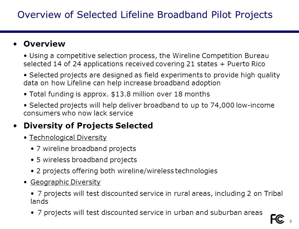 3 Overview Using a competitive selection process, the Wireline Competition Bureau selected 14 of 24 applications received covering 21 states + Puerto