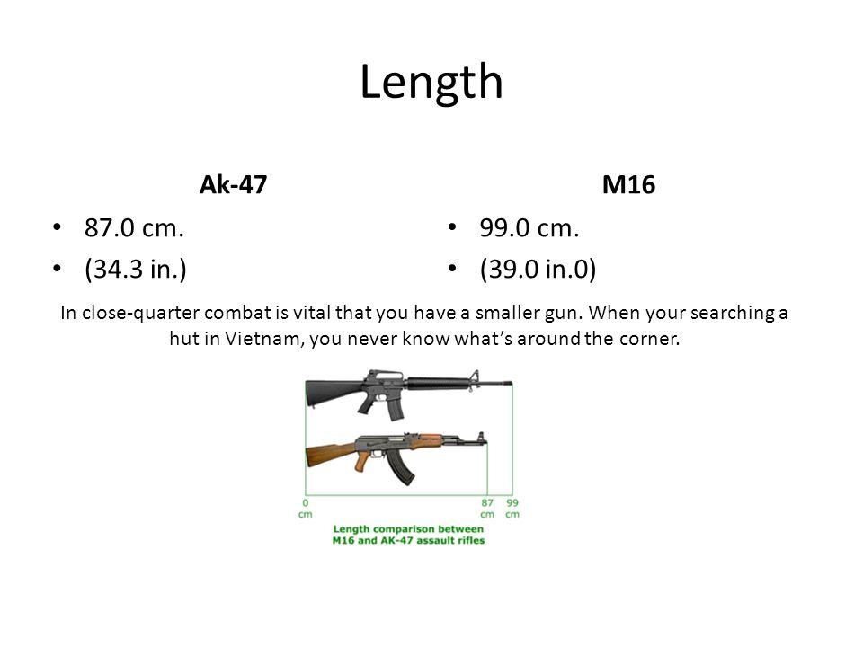 Length Ak-47 87.0 cm. (34.3 in.) M16 99.0 cm.
