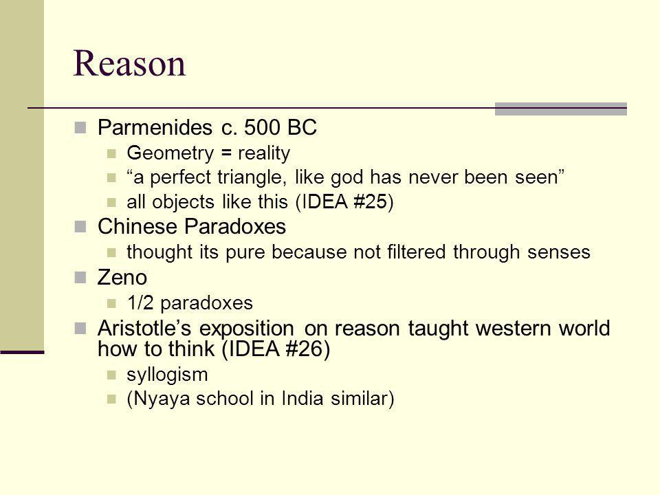 "Reason Parmenides c. 500 BC Geometry = reality ""a perfect triangle, like god has never been seen"" all objects like this (IDEA #25) Chinese Paradoxes t"