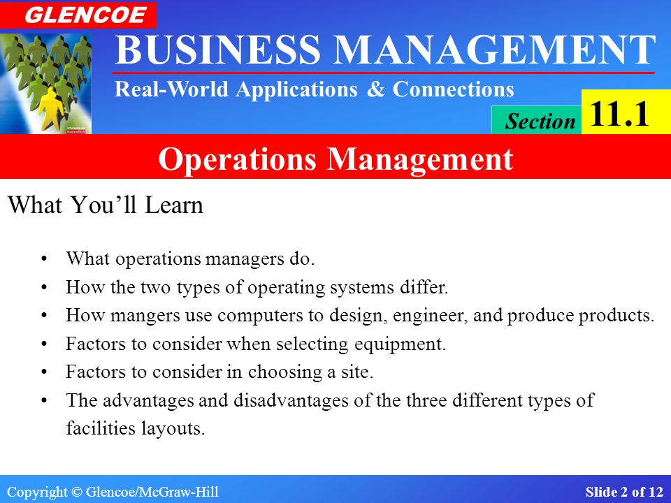 Copyright © Glencoe/McGraw-Hill Slide 2 of 12 BUSINESS MANAGEMENT Real-World Applications & Connections GLENCOE Section 11.1 Operations Management What You'll Learn What operations managers do.