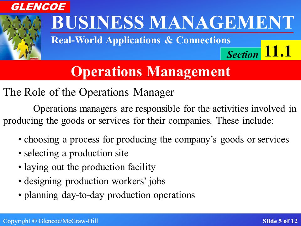 Copyright © Glencoe/McGraw-Hill Slide 5 of 12 BUSINESS MANAGEMENT Real-World Applications & Connections GLENCOE Section 11.1 Operations Management The Role of the Operations Manager choosing a process for producing the company's goods or services selecting a production site laying out the production facility designing production workers' jobs planning day-to-day production operations Operations managers are responsible for the activities involved in producing the goods or services for their companies.
