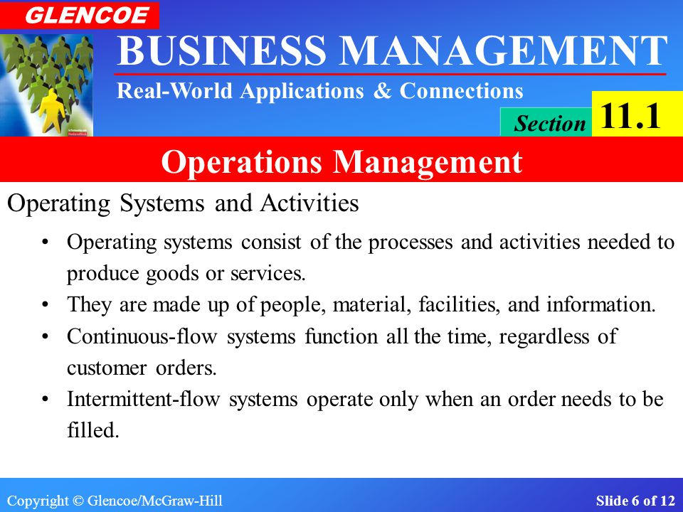 Copyright © Glencoe/McGraw-Hill Slide 6 of 12 BUSINESS MANAGEMENT Real-World Applications & Connections GLENCOE Section 11.1 Operations Management Operating Systems and Activities Operating systems consist of the processes and activities needed to produce goods or services.