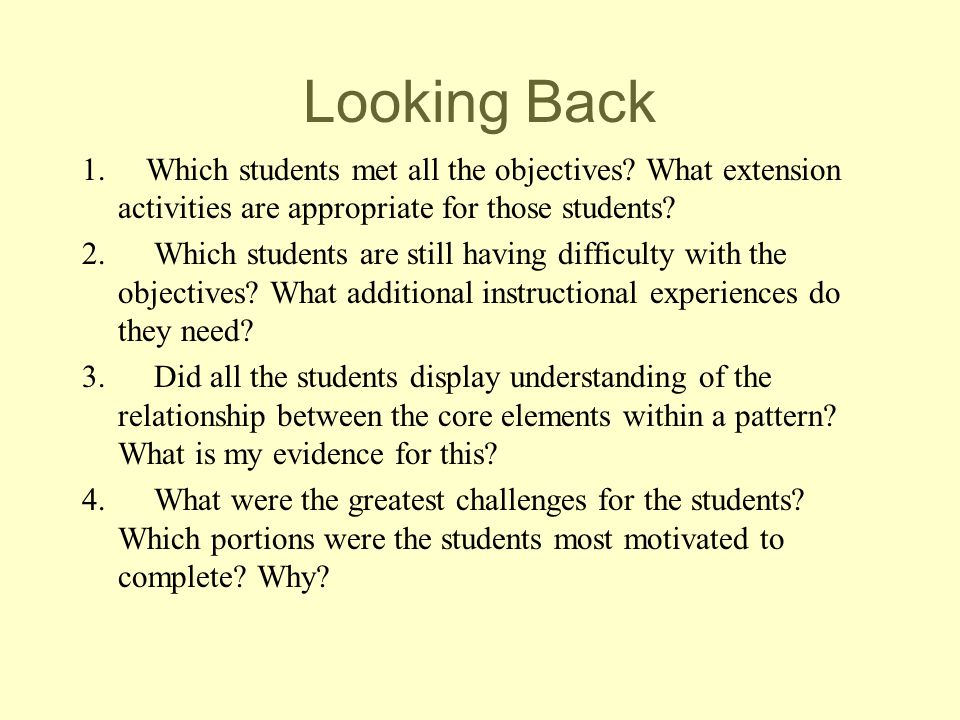 Looking Back 1. Which students met all the objectives? What extension activities are appropriate for those students? 2. Which students are still havin