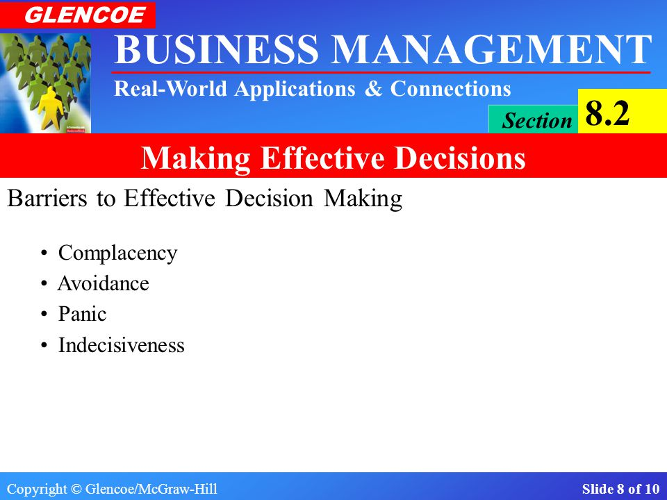 Copyright © Glencoe/McGraw-Hill Slide 7 of 10 BUSINESS MANAGEMENT Real-World Applications & Connections GLENCOE Section 8.2 Making Effective Decisions