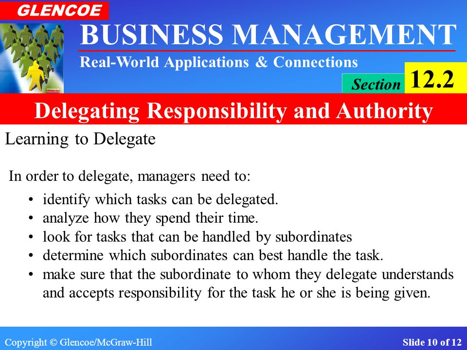 Copyright © Glencoe/McGraw-Hill Slide 9 of 12 BUSINESS MANAGEMENT Real-World Applications & Connections GLENCOE Section 12.2 Delegating Responsibility